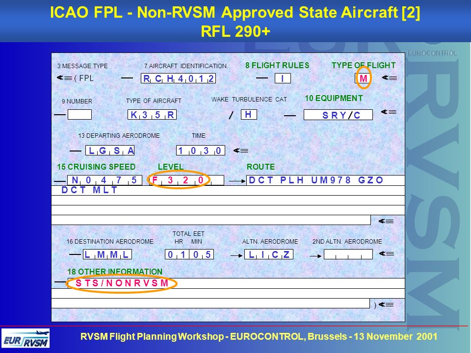 ICAO FPL - Non-RVSM Approved State Aircraft [2]